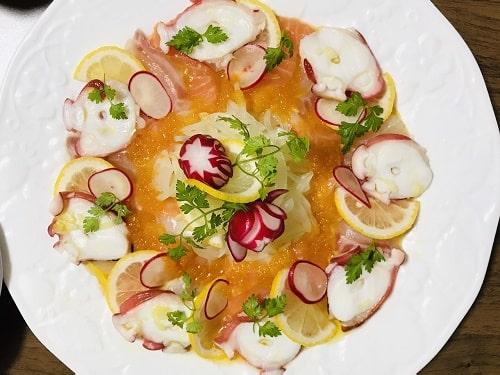 サーモンと真鯛とタコのカルパッチョの完成です